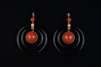 Paire de pendants d'oreille en or jaune 750...