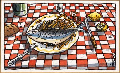 LOUSTAL Illustration à l'encre de Chine et à l'aquarelle représentant un plat typiquement...