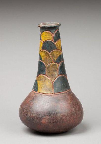 Vase à large col cylindrique se terminant par des lèvres plates