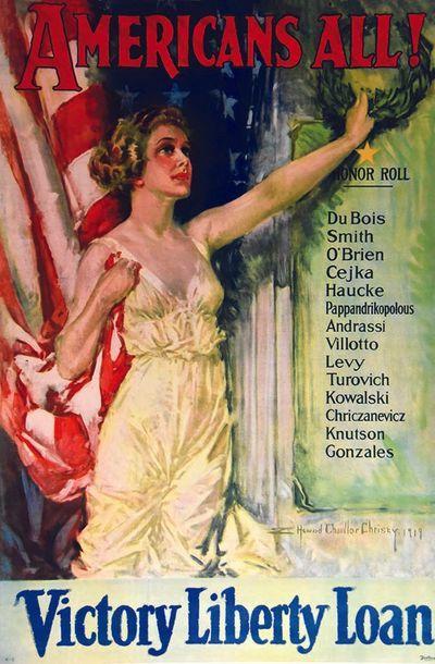 CHANDLER CHRISTY HOWARD Americans All ! 1919 Affiche entoilée/ Vintage Poster on...