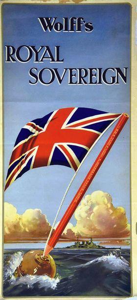 Wolff's Royal Sovereign Pencil vers 1920 1 Affiche Non-Entoilée / Vintage Poster...
