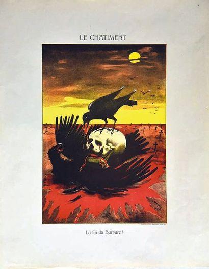 DAMARE L. Le Chatiment La Fin du Barbare ! vers 1917 L. Damaré Paris  1 Affiche Non-Entoilée...