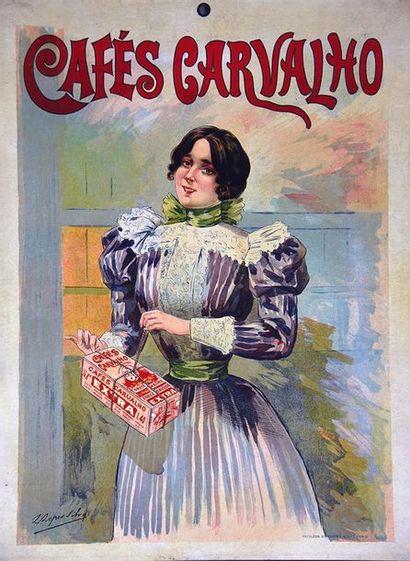 LOPES SILVA L. Café Carvalho vers 1900 Napoléon Alexandre & Cie Paris  Carte publicitaire...