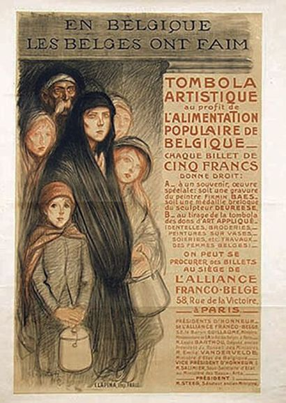 STEINLEN THEOPHILE ALEXANDRE En Belgique les Belges Ont Faim 1915 Lapina Paris  1...
