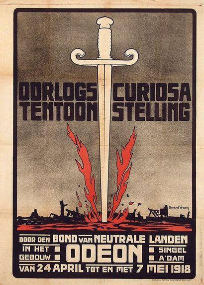 VROOM GERARD Oorlogscuriosa Tentoonstelling Amsterdam 1918 Affiche entoilée/ Vintage...