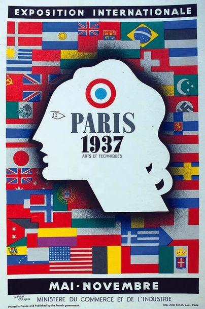 COLIN PAUL Paris 1937 Exposition Internationale 1937 Jules Simon Paris   Affiche...