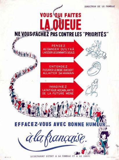 Vous faites la Queue Effacez vous avec bonhumeur à la française 1941