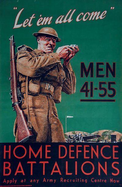 Home Defense Battalion 1939 Lowe & Brydone Ltd London  1 Affiche Non-Entoilée / Vintage...