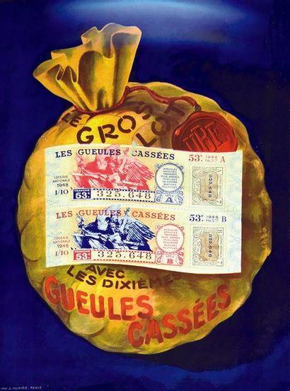 Les Gueles Cassées ( de 14/18 ) 1948 A. Munier Paris   Affiche entoilée/ Vintage...
