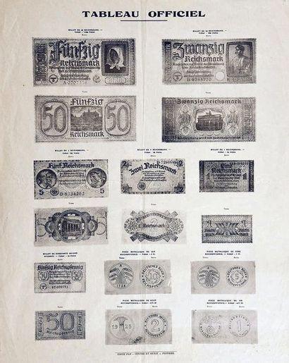 Tableau Officiel de la Conversion des Reichmarks en Francs sous l'Occupation vers...