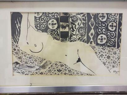 Albert MASRI (1927) Nu allongé    Lithographie...