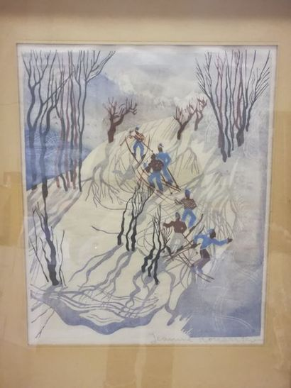 Jeanne Konarsko Les skieurs    Lithographie...