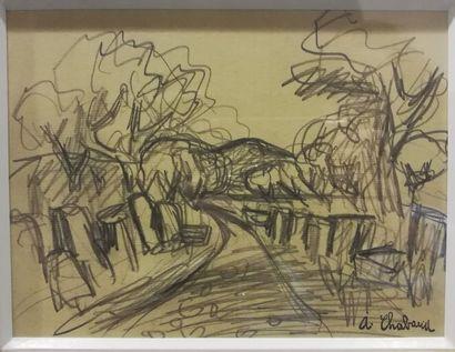 Atelier CHABAUD Route bordée de pins    Crayon...