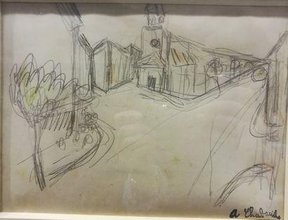Auguste CHABAUD (1882-1955) Vue de village...