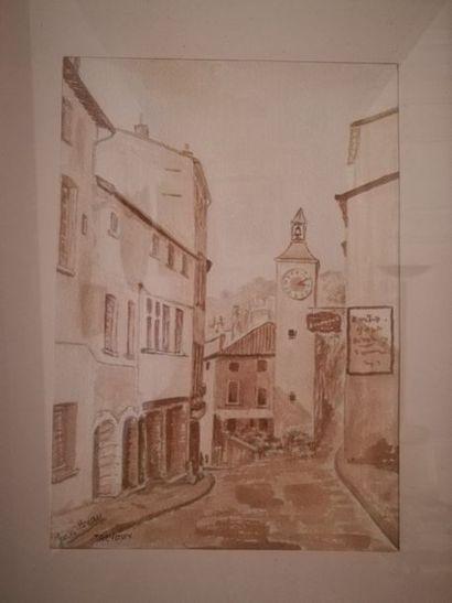 Jean Bray Trévoux,    aquarelle sur papier,...