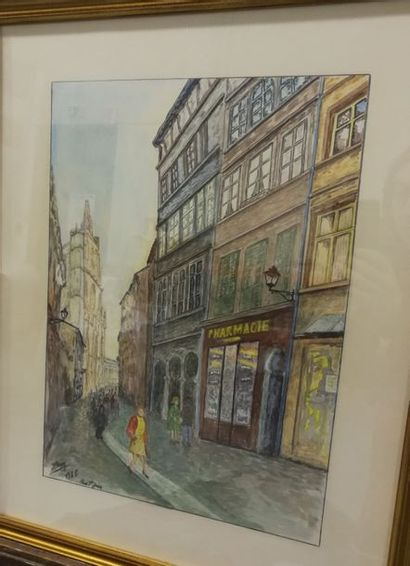 Jean BRAY Rue Saint Jean    Aquarelle sur...