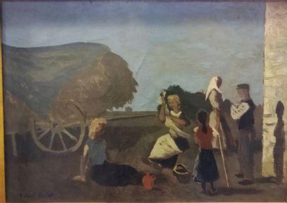 Roland OUDOT (1897-1981) Les enfants    Huile...