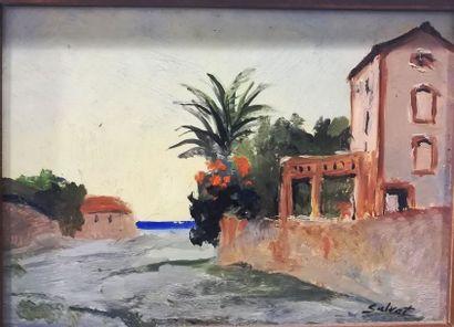 François SALVAT (1892-1976) Maison au bords...