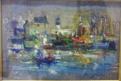 Daniel du JANERAND (1919-1990) Le Canot Bleu...