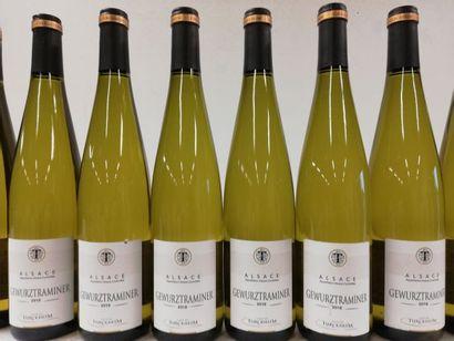 9 bouteilles de Gewurztraminer. 2018. Alsace....