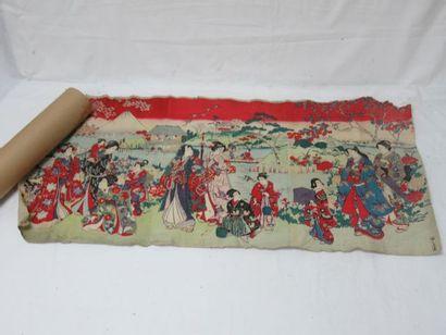 JAPON Estampe, figurant une scène de palais....