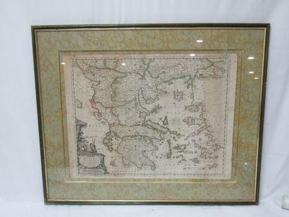 Gravure figurant une carte de la Grèce. XIXe....