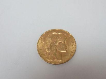 Pièce de 20 francs or, Coq, 1910. Poids :...