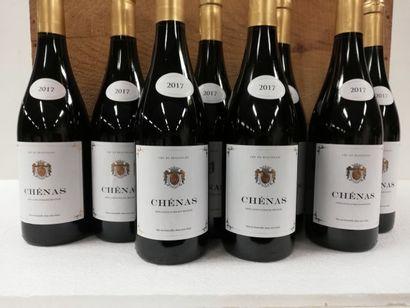8 bouteilles de Chénas. 2017. Le Blason d'Or....