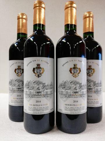 4 bouteilles de Graves. Rouge. 2014. Château...