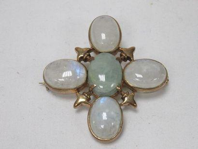 Ravissante broche en métal doré et pierre...