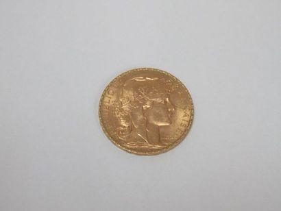 Pièce de 20 francs or, Coq, 1908. Poids :...