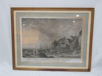 """D'après HACKERT """"Maisons de pêcheurs à St Valéry sur Somme"""" Gravure en noir. Datée..."""