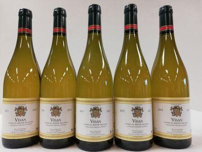 5 bouteilles de Visan blanc. 2015. Côtes...