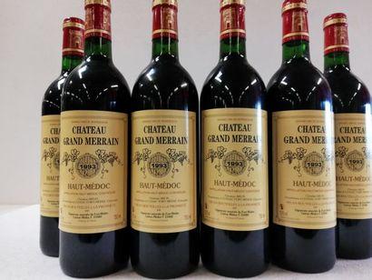 6 bouteilles de Château Grand Merrain. 1993....