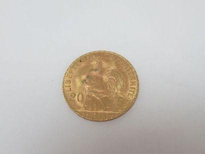 Pièce de 20 francs or, Coq, 1914. Poids :...