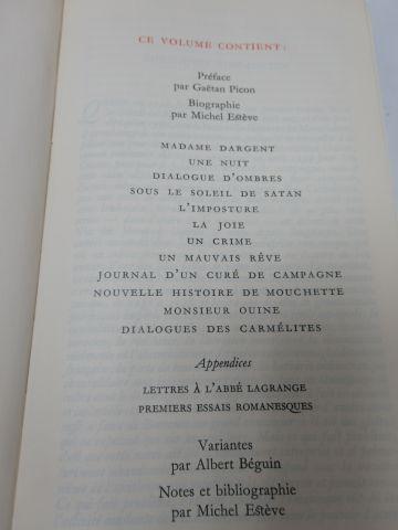 "LA PLEIADE, BERNANOS, ""Œuvres romanesques"" 1974"