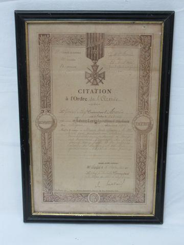 Citation à l'ordre de l'armée du 5 Septembre...