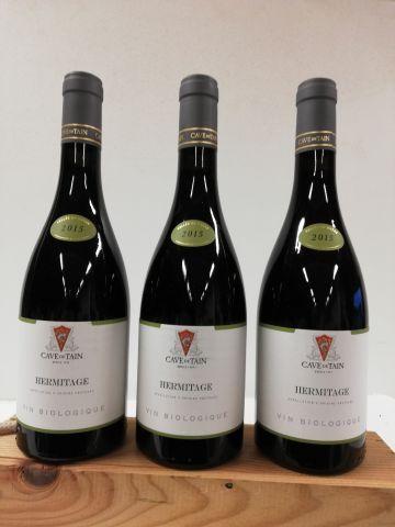 3 bouteilles de Hermitage Rouge. 2015. Cru...