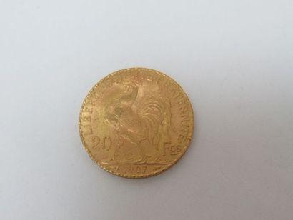 Pièce de 20 francs or, Coq, 1907. Poids :...