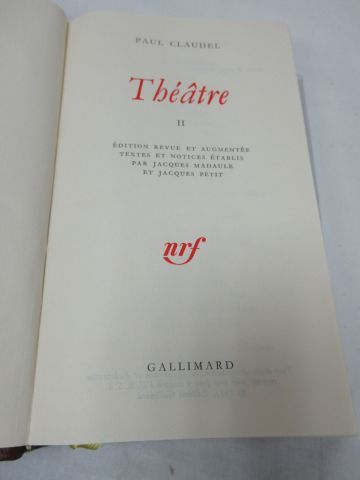 "LA PLEIADE, CLAUDEL, ""Théâtre"", tome 2, 1971"