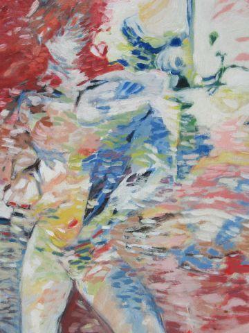 """Ecole moderne """"Nu"""" Acrylique sur carton. SBD. 45 x 31 cm"""