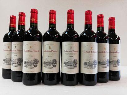 8 bouteilles de Lalande de Pomerol. 2014....