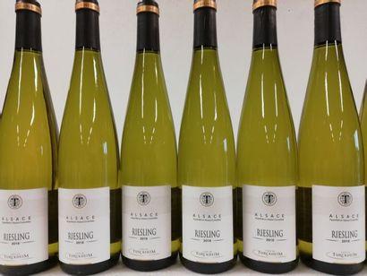 12 bouteilles de Riesling Alsace. 2018. Les...