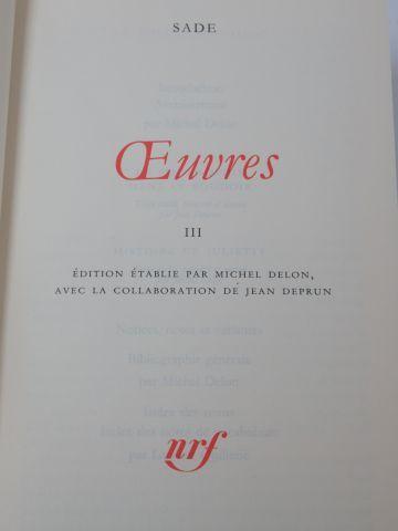 """LA PLEIADE, Sade, """"Œuvres"""", tome 2 (1995)"""