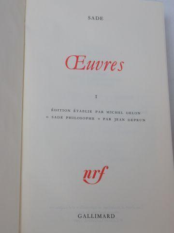 """LA PLEIADE, Sade, """"Œuvres"""", tome 1 (1992)"""