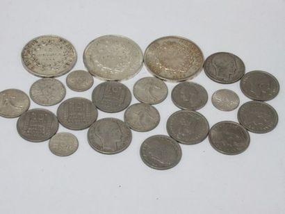 FRANCE Petit lot de monnaies en argent :...