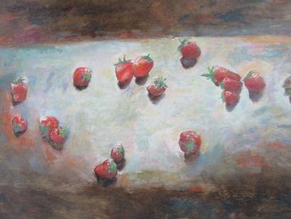 """HESPEL """"Nature morte aux fraises"""" HST SBD. 81 x 101 cm"""