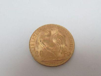 Pièce de 20 francs or, Coq, 1912. Poids :...