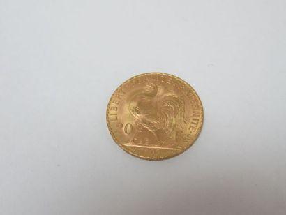Pièce de 20 francs or, Coq, 1909. Poids :...
