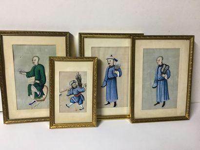 CHINE XIXème. Série de quatre jolis dessins...